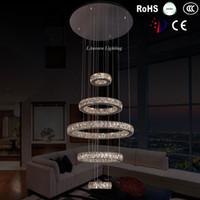 art of dining - chandelier made of crystal crystal chandelier wedding centerpiece led pendant lights color change Modern Rings Crystal LED Ceiling Light
