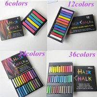 Wholesale 6 Colors Hair Colors Chalk Dye Soft Pastels Stick Crayons for hair extensions Temporary DIY hair color