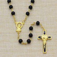 10pc / lot Collar del rosario del grano de cristal de los hombres 6m m, Rosario santo de San Benito, Pin plateado de oro y collar del rosario de la cadena