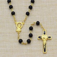 Wholesale 10pc Men mm Glass Bead Rosary Necklace St Benedict Holy Rosary Golden Plated Pin and Chain Rosary Necklace