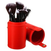 Wholesale Hot Empty Portable Makeup Brush Round Pen Holder Cosmetic Tool PU Leather Cup Container Solid Colors Optional Case