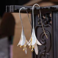 allergy pendant - 925 sterling silver Flowers Long Earrings For Women Elegant Lady Prevent Allergy Silver Earings Fashion Jewelry