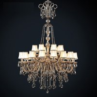 Wholesale New Modern led smoky gray glass chandelier with screen arm lamp cover crystal chandelier crystal chandeliers living room