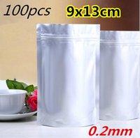 aluminium pouch - 9x13cm Stand up Silver aluminium foil ZipLock bag Reusable mylar pouches zipper Grip Seal