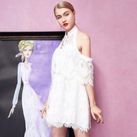 Cheap Small fresh new summer dress white goddess Halter Halter short sleeved lace A-line dress skirt a