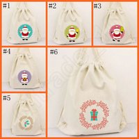 Wholesale Christmas Canvas Backpack cm The old postman designs cartoon Drawstring Bags Christmas Boxes Storage kids gifts OOA243