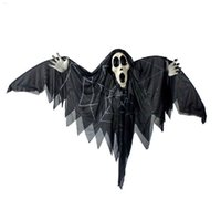 bats control - Newly Halloween Prop Voice Control Hanging Bat Skull Horror Glowing Eyes Ghost Haunted House Bar Decor Festival Party Supplies SW0254