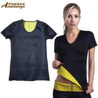 Cheap Wholesale-Women Tops Training Corsets Bodysuit T-shirt Control Vest Tops Super stretch Hot Neoprene Body Shaper Weight Loss Slimming tops