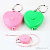 Wholesale Candy Color Retractable Tape Measures Key Holder Meter Metric Markings Ruler Tape Measure Dieting Tailor Color Random HG