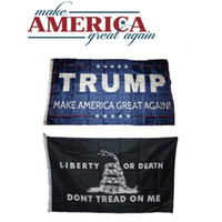 Wholesale Black x Ft Gadsden Dont Tread on Me Flag Blue Donald Trump Flag Make America Great Again