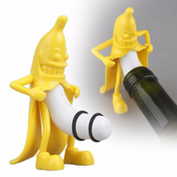 Wholesale Bottle Stopper Banana Shaped Man Wine stoppers Kitchen Bar Tool