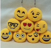 Wholesale 2016 Emoji Smiley QQ Expression Keychains Cute Lovely Cartoon Pendant Car Moblie Key Chain CM Size Styles