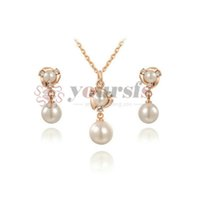 Wholesale 18K Rose Gold Plated Pearl Necklace and Earring Set Women Fashion Jewelry