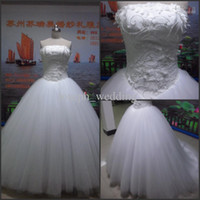 Wholesale Actual Image White Strapless Beaded Organza Court Train Princess Ball Gown Wedding Dresses