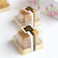 Wholesale Plastic Cake Box Single Individual Cake Boxes Golden Bottom Plastic Mooncake Pvc Boxes Food Gift Packaging cm
