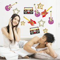 american musical instruments - high quality Personality Creative PVC Cute Cartoon Musical Instruments Removable Home Bedroom Wall Sticker