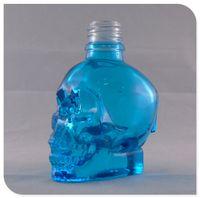 Wholesale 30ML Skull Shape Glass Dropper Bottle E Liquid E Juice Blue Color with Glass Dripper Pipette Childproof Cap