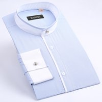 banded collar dress shirt - Special Offer Summer Mens Banded Collar mandarin Collar Dress Shirt Business Casual Lightweight Long Sleeve Stripe Shirt