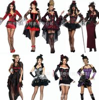 Wholesale 20 styles halloween costume for women High quality new Vampire princess Gothic Witch dress with hat Cosplay halloween costume