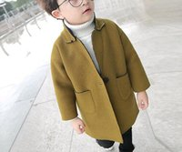 Wholesale JJH1017 Fashion Boys Winter Yellow Cool Style Stand Collar Long Parkas Double Pockets Long Sleeve Cozy Casual Outwear Tops
