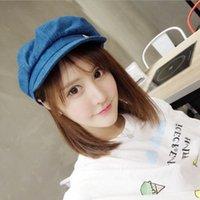 Wholesale Retro cowboy hats female octagonal cap small British Lunbei Lei labeling smiley sun hat newsboy painter