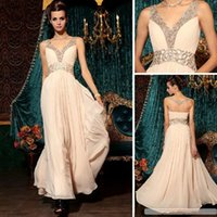 Wholesale Cake Sexy Model - Sell like hot cakes very new v-neck embroidery beaded floor-length chiffon evening dress custom of 2016 autumn winters