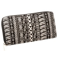 american canvas products - New Fancy Black White Canvas Lady Wallet Purse With Single Zipper High Quality Lady Wallet With Good Beautiful Printing Hot New Product