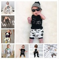 best white tshirts - Best Sellers ins Boys Girls Baby Clothing Sets Cotton Summer Short Sleeve tshirts Short Pants Piece Set Cartoon Printed Infant Clothes
