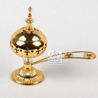 Wholesale Golden Alloy Incense Burner Arab Middle East Charcoal Incense Burner Incensory Metal Craft Home Decor