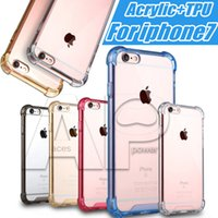 acrylic corner - For Iphone Cover Soft Air Cushion For Iphone7 Plus Corners Slim Double layer TPU Acrylic Hybrid Bumper Drop Resistance Shockproof