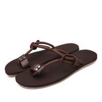 Wholesale Urban Leisure Sexy Stylish Genuine Leather Gladiator Beach Sandals Mens Ribbons Flip Flops Summer Shoes Comfortable For Tide Boys Trendy New