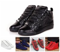 arena flat - 2016 Red Men Leather Sneakers BL Arena Flats High Top Kanye West Shoes Trainers Sport Arena Shoes Fashion Tenis Masculino Sapatilha