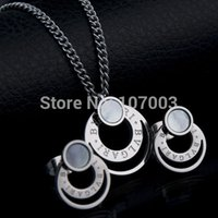 Wholesale Never Fade Fashion Band Jewelry l Stainless Steel Shell Jewelry Set Women Necklace Earrings Set wedding jewelry set