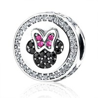 Wholesale Authentic Sterling Silver Pandora Charm Bead Sweet Minnie Fit Pandora Bracelet Bangle Charm DIY Jewelry S381