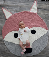 Wholesale 2016 New Crochet D Cartoon Fox Blanket Kids Cotton Play mat Kids Room Decoration baby Infant Newborn Photography Props baby Creative Gifts