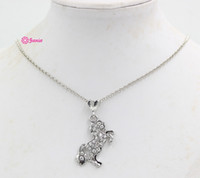 Wholesale Lead Nickel Free Equestrian Horse Jewelry Made of Zinc Alloy with Czech Crystal Rhinestone Silver Color Horse Pendant Necklace