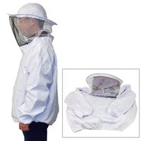 beekeeping veils - High Quality White Protective Beekeeping Jacket Veil Dress With Hat Equip Suit Smock MD1170