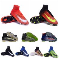 Wholesale New Mercurial Mens Soccer Cleats Kids Superfly V FG Football Shoes Womens Soccer Shoes Cr7 Superflys Youth Soccer Cleats Children Size