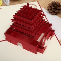 bell view - Xi an Bell Tower D Three dimensional Originality Hollow Out Paper Sculpture Architecture Greeting Card View Point Tourism Heat Sell Card