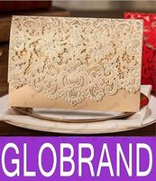 Wholesale New Champagne Floral Laser Cut Wedding Invitations Table Card Seat Card Place Card For Wedding Favors And Gifts GLO110