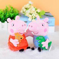 venda por atacado peppa pig toys-19CM rosa Peppa Pig George Dolls porco bonito brinquedos de pelúcia Pigs Dolls Stuffed dos desenhos animados dos desenhos animados Plush Toy brinquedos porco transporte 30pcs grátis