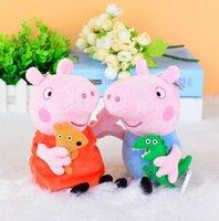 all'ingrosso peppa pig-peluche 19CM Rosa Peppa Pig George bambole maiale bello giocattoli maiale maiali bambole del fumetto ha farcito il giocattolo della peluche del fumetto di trasporto 30PCS