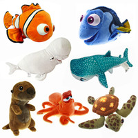 plush sea animals - New Finding Dory Mini Plush Nemo Dory Fish Quirt Crush Turtle Sea Otter Hank Bailey Whale Stuffed Animals Toys cm