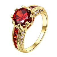 big band christmas - Big Round Red Stone Crystal Sapphire Zircon Vintage Wedding Rings For Men KT Yellow Gold Rings Party Jewelry Anniversary Christmas Gifts