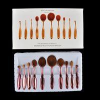 Wholesale 10pcs set Gold brush silver brush rose Beauty Toothbrush Shaped Foundation Power Makeup Oval Cream Puff Brushes sets Oval Brushes