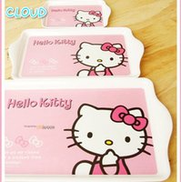 Wholesale Food Tray Melamine Plates Hello Kitty Fruit Plate Tray Cutlery Sets Three piece Imports of non toxic materials