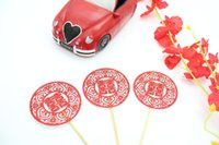 20pcs/opp bag baby happiness - 5 Available Chinese Style Double Happiness Meaning Cake Decoration Baby Shower Party Paper Cupcake Toppers