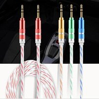 Wholesale NEW mm Stereo Audio AUX Cable Dual Color Wire Auxiliary Cords Jack Male To Male M M M FT For Iphone Samsung Mobile Phone