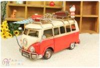 Wholesale Handmade Red Blue Metal Car Manual model Retro ornaments tuba campervan Furnishing Decoration Children s toys Crafts Gift