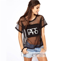 Wholesale New Women s Sheer Mesh T shirt Tees Short Sleeve PARIS Letters Print Club Party Shirts Top Sexy Summer Black Tees Streetwear S XL ZN